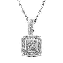 Sterling Silver 1/7-ct. T.W.  Diamond Halo Pendant