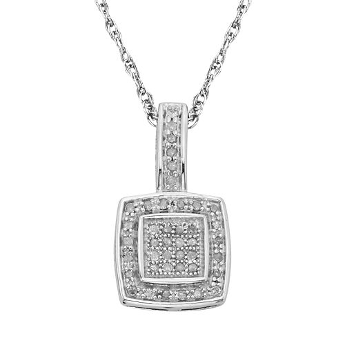 Sterling Silver 1/7-ct. T.W.  Diamond Halo Pendant