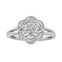 Sterling Silver 1/4 ct Diamond Flower Ring