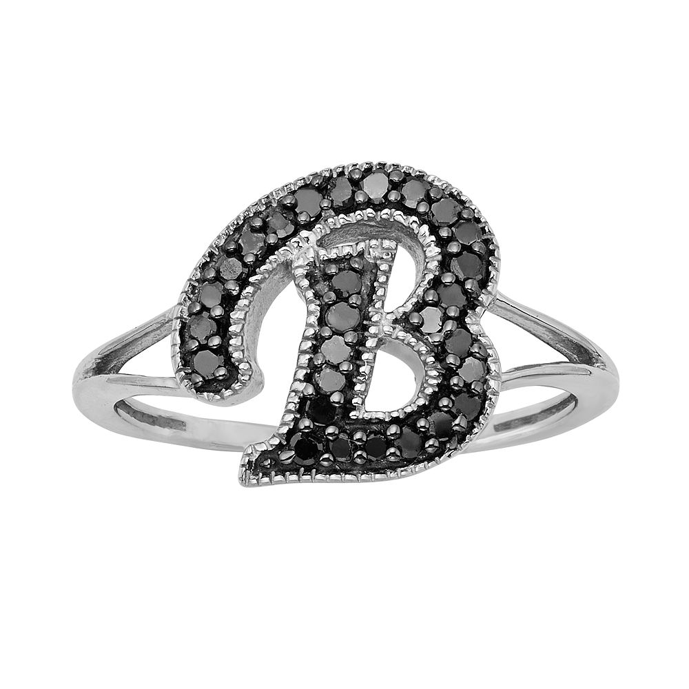 Sterling Silver 1/4-ct. T.W. Black Diamond Initial Ring