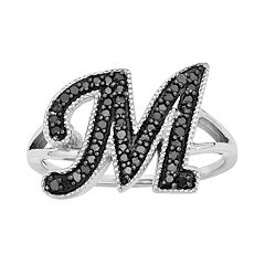 Sterling Silver 1/4 ctT.W. Black Diamond Initial Ring