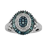 Sterling Silver 1/2-ct. T.W. Blue & White Diamond Halo Ring