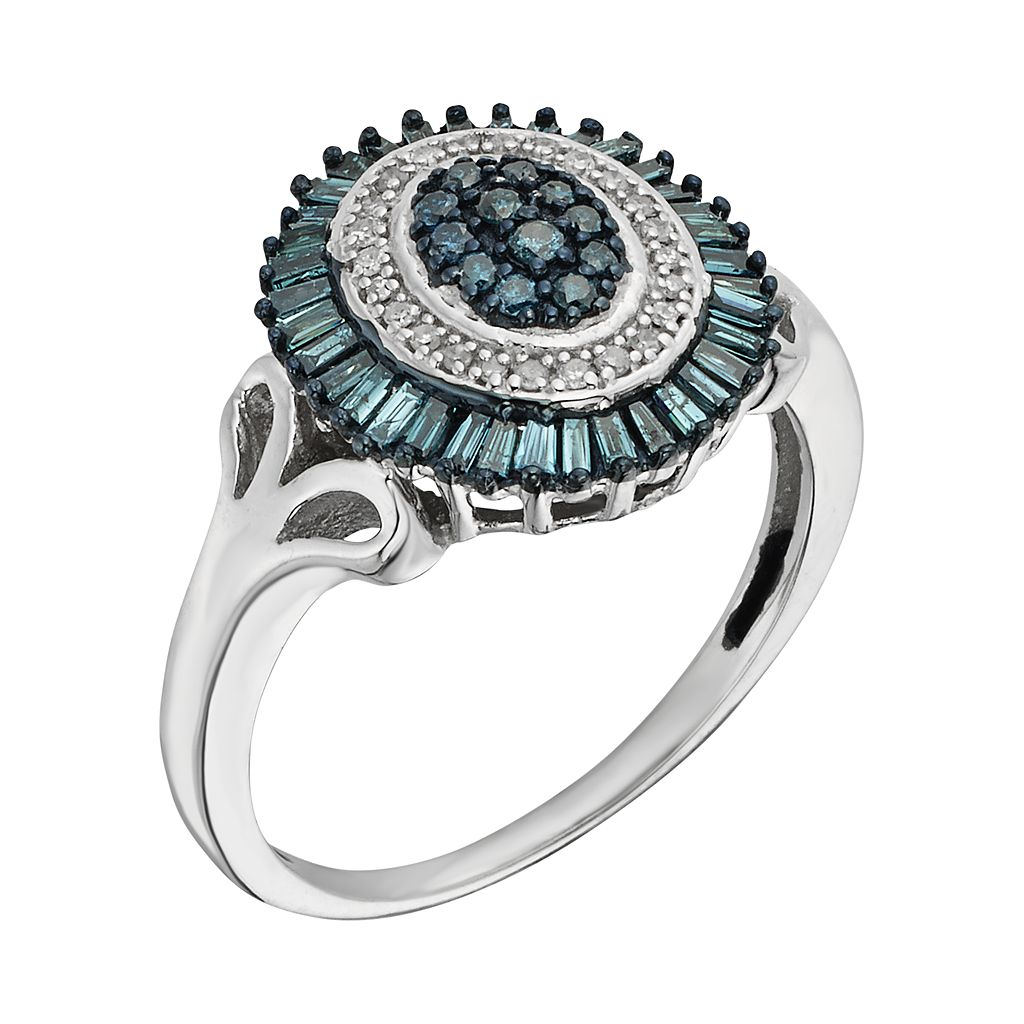 Sterling Silver 1/2-ct. T.W. Blue and White Diamond Halo Ring