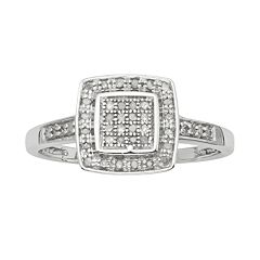 Sterling Silver 1/7 ct Diamond Halo Ring