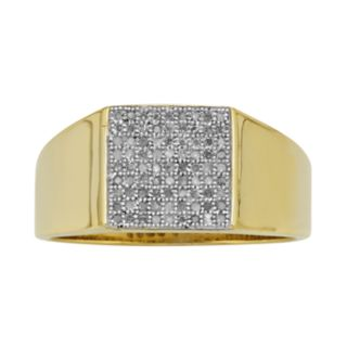 Yellow Rhodium-Plated Sterling Silver 1/4-ct. T.W. Diamond Ring - Men