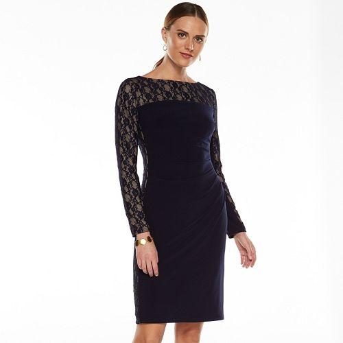 Petite Chaps Lace-Trim Sheath Dress