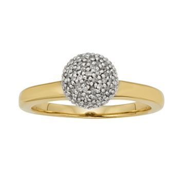 Yellow Rhodium-Plated Sterling Silver 1/4-ct. T.W. Diamond Ball Ring