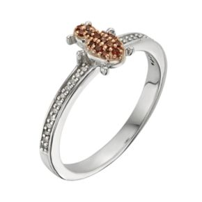 Sterling Silver 1/7-ct. T.W. Red and White Diamond Ladybug Ring