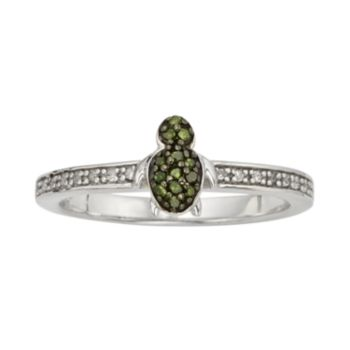 Sterling Silver 1/7-ct. T.W. Green and White Diamond Turtle Ring