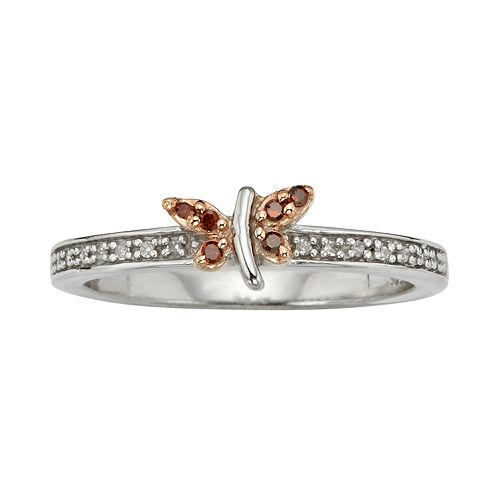 Sterling Silver 1/10-ct. T.W. Red & White Diamond Butterfly Ring