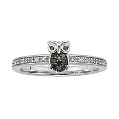 Sterling Silver 1/10 ctT.W. Black & White Diamond Owl Ring
