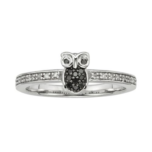Sterling Silver 1/10-ct. T.W. Black and White Diamond Owl Ring