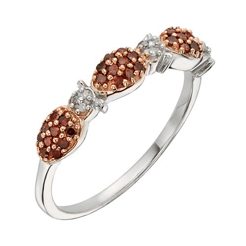 Sterling Silver 1/4-ct. T.W. Red & White Diamond Ladybug Ring