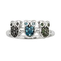 Sterling Silver 1/4-ct. T.W. Green, Blue & Black Diamond Owl Ring
