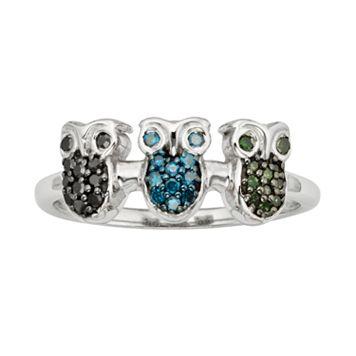 Sterling Silver 1/4-ct. T.W. Green, Blue & Black Diamond Owl Ring