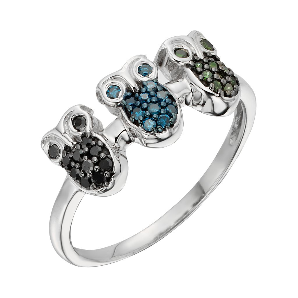 Sterling Silver 1/4-ct. T.W. Green, Blue and Black Diamond Owl Ring