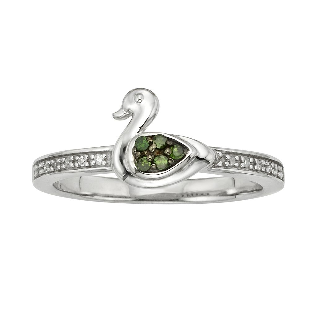 Sterling Silver 1/10-ct. T.W. Green & White Diamond Duck Ring
