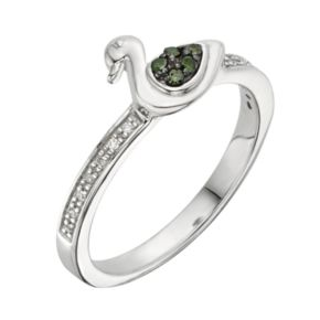 Sterling Silver 1/10-ct. T.W. Green and White Diamond Duck Ring