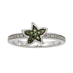 Sterling Silver 1/7-ct. T.W. Green & White Diamond Starfish Ring