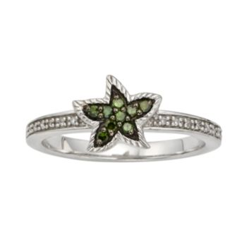 Sterling Silver 1/7-ct. T.W. Green and White Diamond Starfish Ring