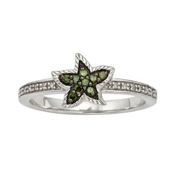 Sterling Silver 1/7-ct. T.W. Green & White Diamond Starfish Ring