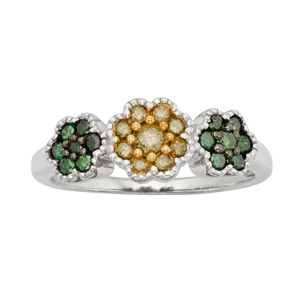 Sterling Silver 12 Ct Tw Green Yellow Diamond Flower Ring