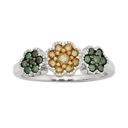 Sterling Silver 1/2-ct. T.W. Green & Yellow Diamond Flower Ring