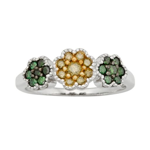 Sterling Silver 1/2-ct. T.W. Green and Yellow Diamond Flower Ring