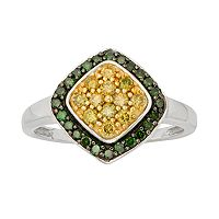 Sterling Silver 1/2 ctT.W. Green & Yellow Diamond Halo Ring