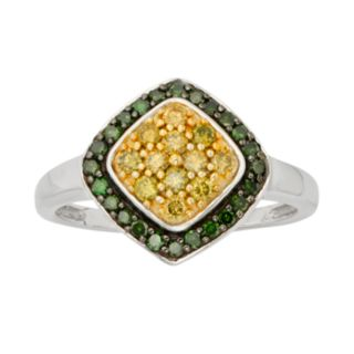 Sterling Silver 1/2-ct. T.W. Green and Yellow Diamond Halo Ring