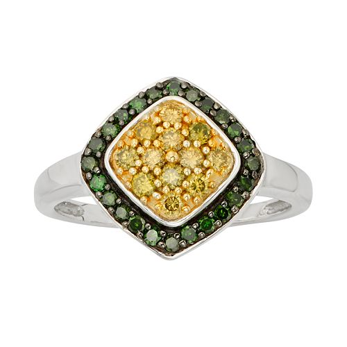Sterling Silver 1/2-ct. T.W. Green & Yellow Diamond Halo Ring