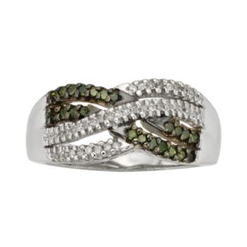 Sterling Silver 1/3-ct. T.W. Green & White Diamond Crisscross Ring