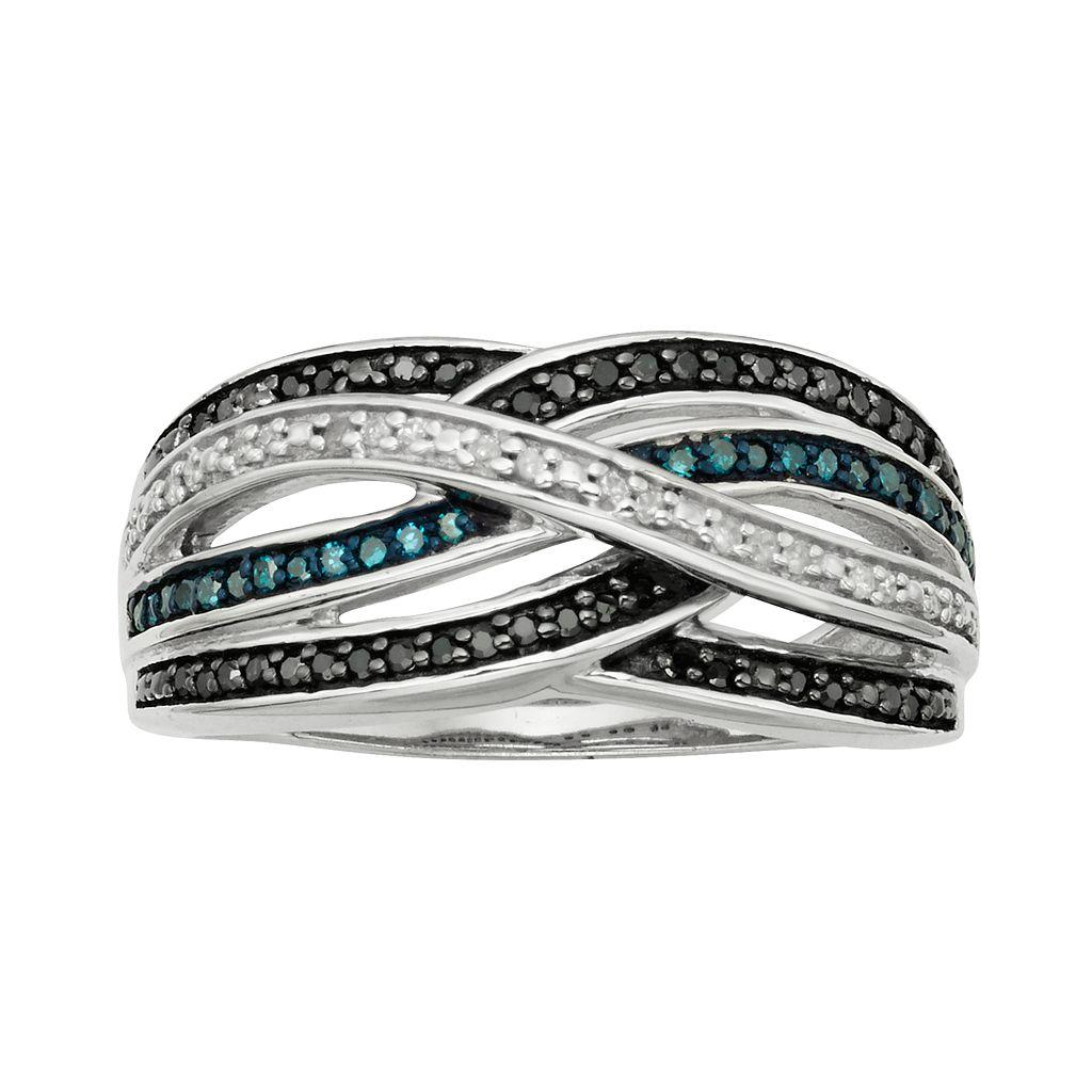 Sterling Silver 1/4-ct. T.W. Blue, Black & White Diamond Crisscross Ring