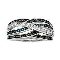 Sterling Silver 1/4 ctT.W. Blue, Black & White Diamond Crisscross Ring
