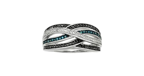 Diamond Rings For Sale Kohls: Sterling Silver 1/4-ct. T.W. Blue, Black And White Diamond