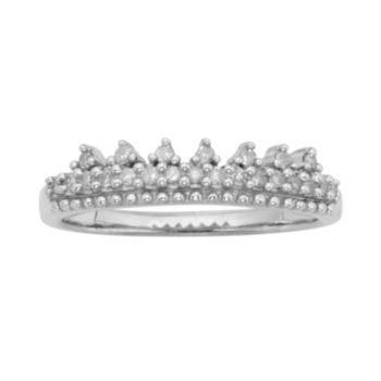 Sterling Silver 1/10-ct. T.W. Diamond Ring