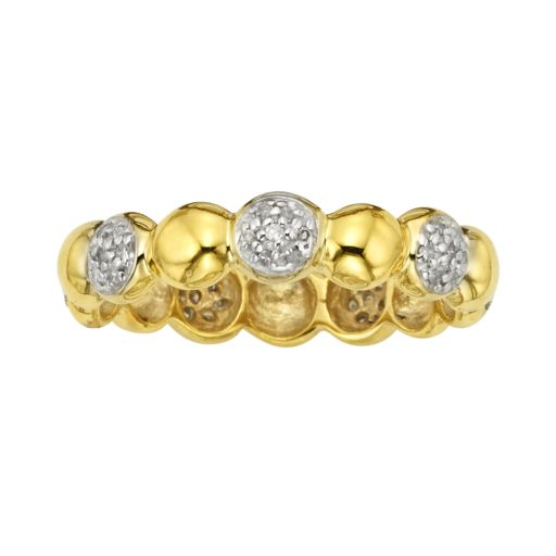 Yellow Rhodium-Plated Sterling Silver 1/7-ct. T.W. Diamond Ring