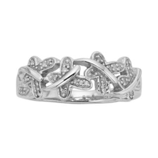 Sterling Silver 1/10-ct. T.W. Diamond Butterfly Ring