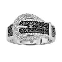 Sterling Silver 1/3 ctT.W. Black & White Diamond Buckle Ring