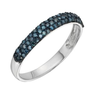 Sterling Silver 1/4-ct. T.W. Blue Diamond Ring