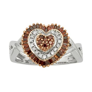 Sterling Silver 1/2-ct. T.W. Red & White Diamond Heart Ring