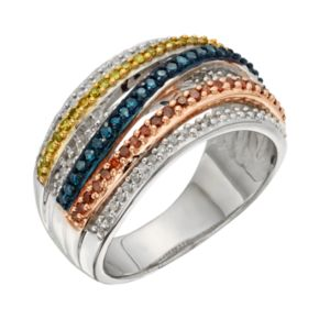 Sterling Silver 1/2-ct. T.W. Blue, Red, Yellow and White Diamond Crisscross Ring