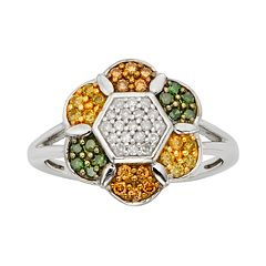 Sterling Silver 1/2 ctT.W. Green, Yellow, Champagne & White Diamond Flower Ring