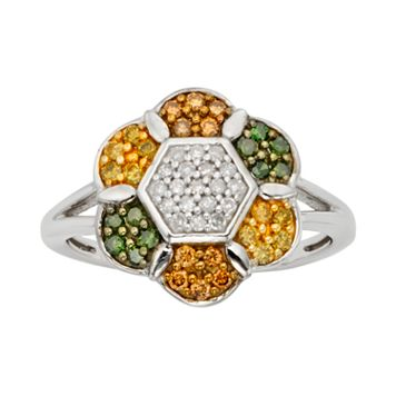 Sterling Silver 1/2-ct. T.W. Green, Yellow, Champagne & White Diamond Flower Ring