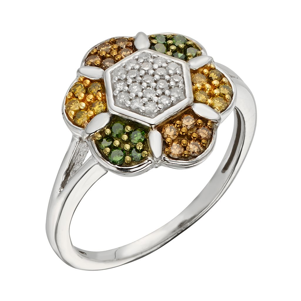 Sterling Silver 1/2-ct. T.W. Green, Yellow, Champagne and White Diamond Flower Ring