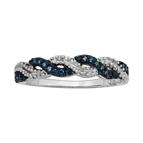 Sterling Silver 1/10-ct. T.W. Blue Diamond Crisscross Ring
