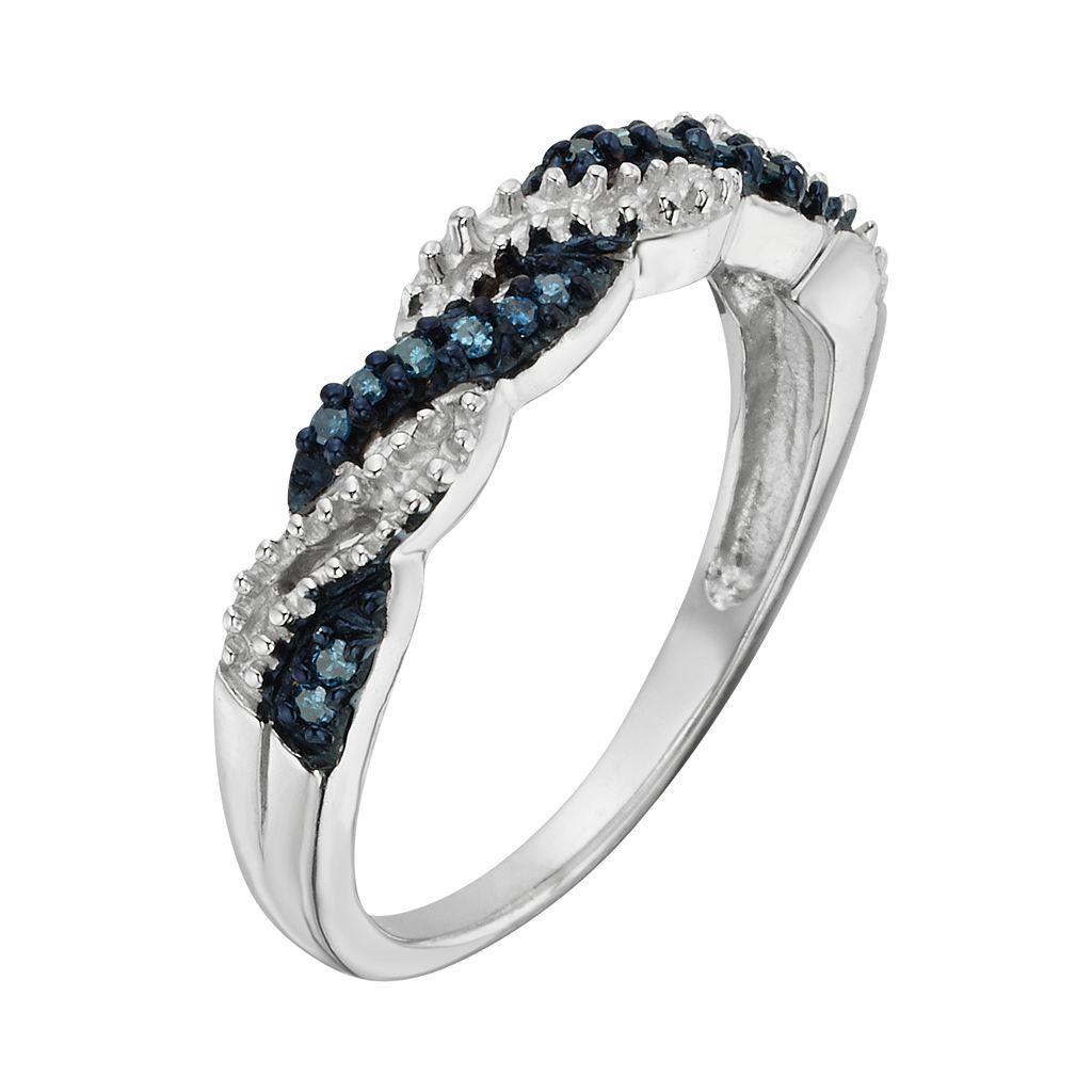 Sterling Silver 1/10-ct. T.W. Blue Diamond Crisscross Ring