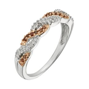 Sterling Silver 1/10-ct. T.W. Red Diamond Crisscross Ring