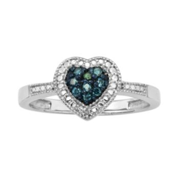 Sterling Silver 1/10-ct. T.W. Blue and White Diamond Heart Ring