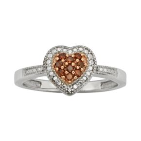 Sterling Silver 1/10-ct. T.W. Red and White Diamond Heart Ring